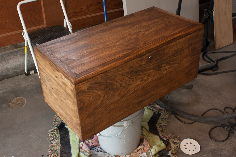 ... walnut stain helped hide many of the deep-stain blemishes in the wood