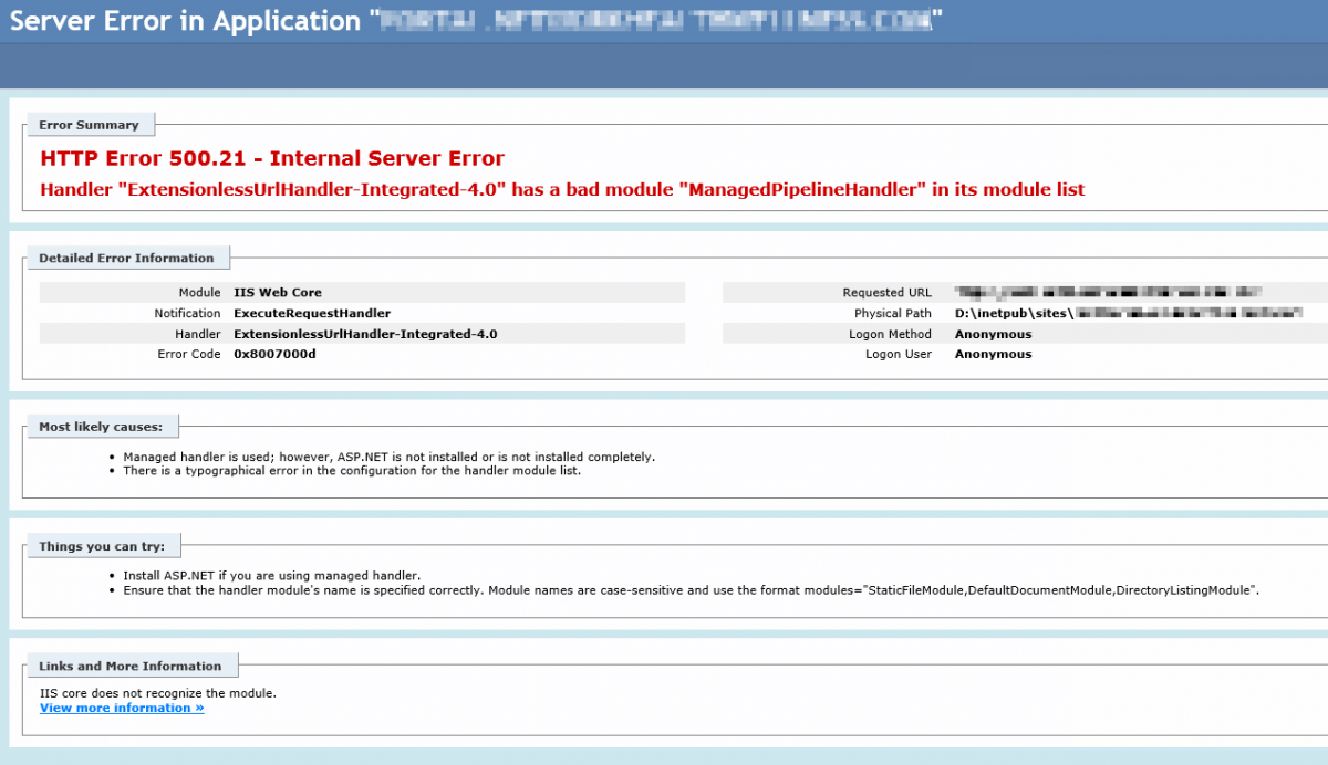 HTTP Error 500.21 - Internal Server Error Handler ExtensionlessUrlHandler-Integrated-4.0 has a bad module ManagedPipelineHandler in its module list