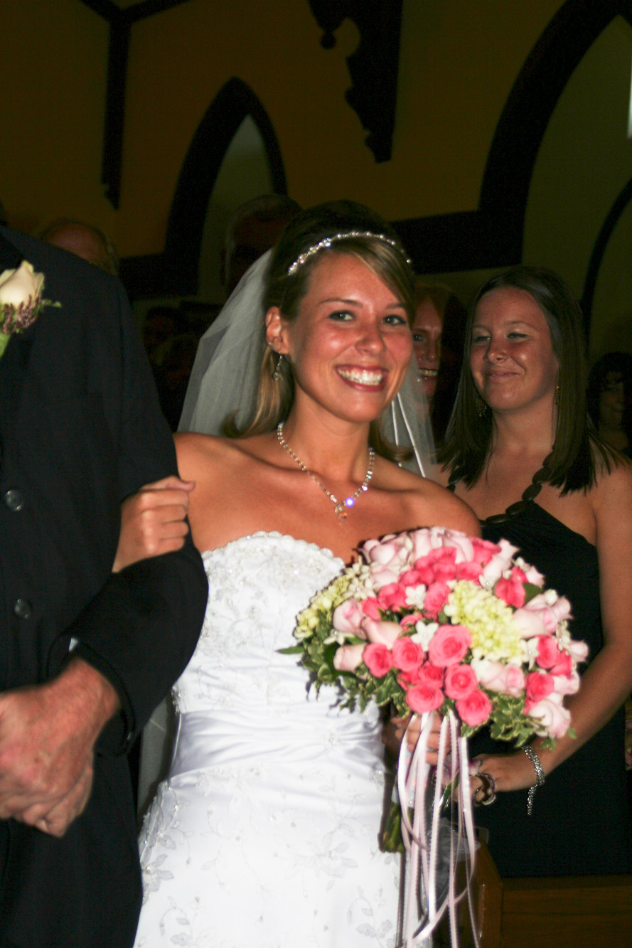 Joy walking down the aisle *six* years ago.